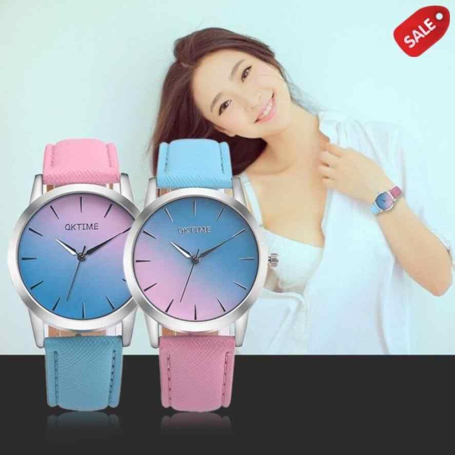 Женские часы, наручные часы, Радужный дизайн, кожаный ремешок, аналоговый сплав, кварцевые наручные часы, часы для женщин