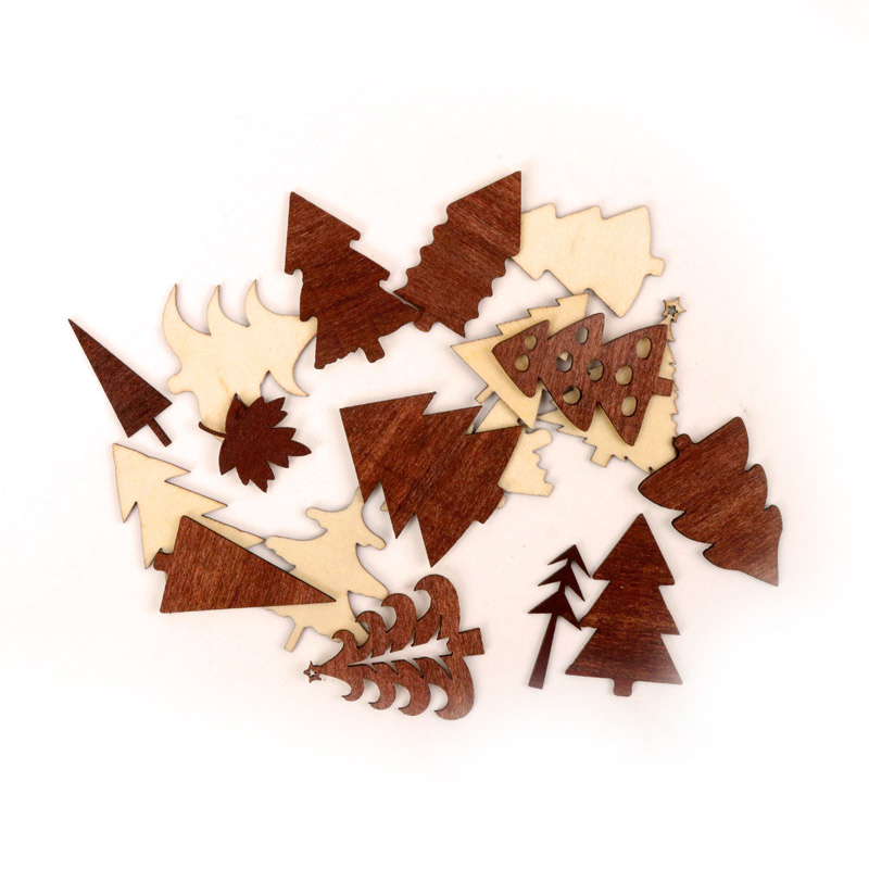Natural Various Tree Pattern Wooden Scrapbooking Collection Craft for Handmade Accessory Sewing Home Decoration 25-45mm 10pcs