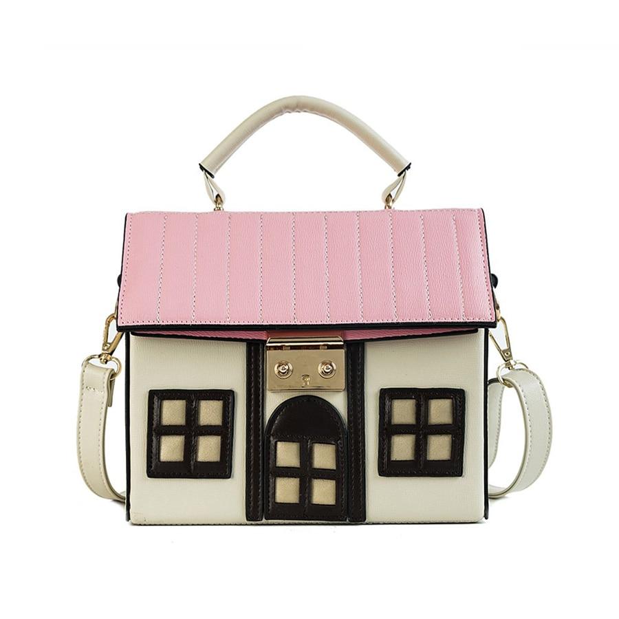 Cartoon 3D House Designer Handbags Pu Leather Handbag Women\'S Shoulder Messenger Bag Crossbody Bags