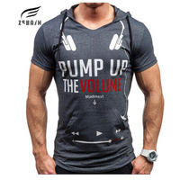 Tops Brand 2017 Summer Fashion Hooded Musculation Short Sleeved Tees Male Camisa Masculina Headset Letters Men