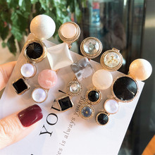 1 Set Design Metal Gold Crystal Pearl Irregular Acetate Hair Clip for Women Girl Wedding Party Accessories Jewelry A30
