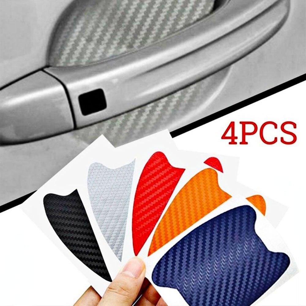 4Pcs Carbon Fiber Car Door Protective Film Bowl Stickers Protection Body Decoration Door Handle Stickers Decals Car Accessories