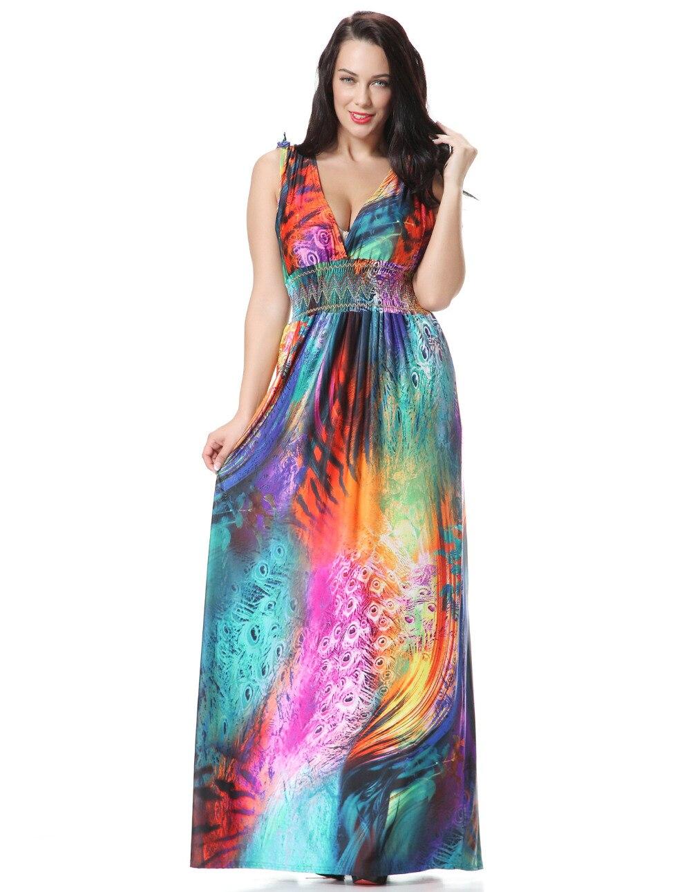 2018 Women Summer Holiday Beach Dress Plus Size 7XL Printed Long Maxi Dress Elbise Robe ete Jurk ...