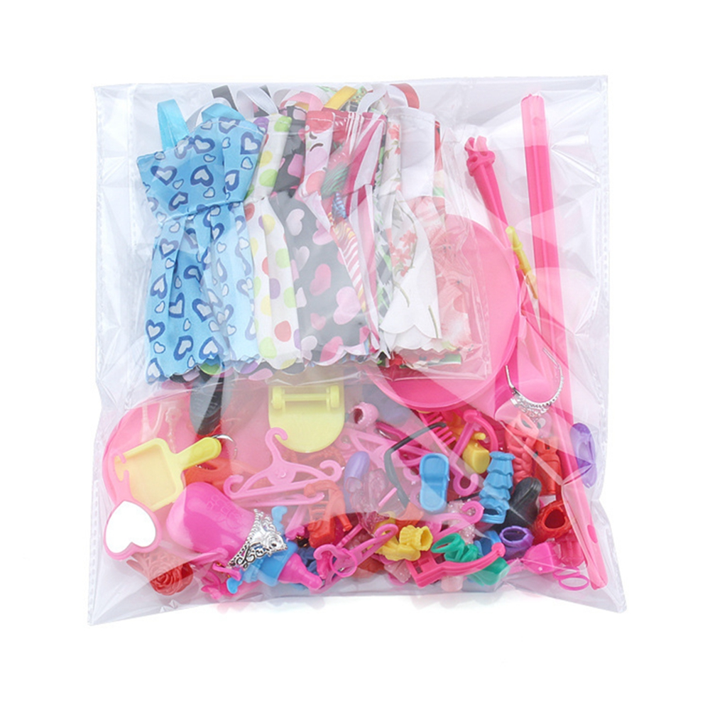 83 ItemSet Doll Accessories=10 Pcs Doll Clothes Dress+18 Pairs Shoes+2 Pcs Crown+2 Handbag+12 Clothes Hanger for Barbies Doll (10)