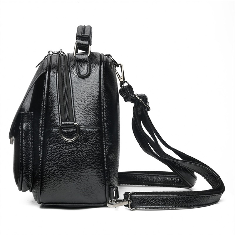 New Litchi PU Leather Female Shoulder Bag for Women Casual Backpacks High Quality Leather Women Small Backpack mochila feminina in Backpacks from Luggage Bags