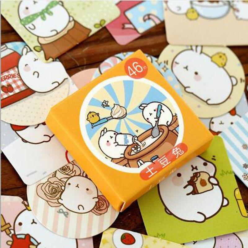 Купить с кэшбэком Kawaii Decoracion Journal Cute Diary Rabbit Stickers Scrapbooking Stationery Stickers Office School Supplies 46PCS/box