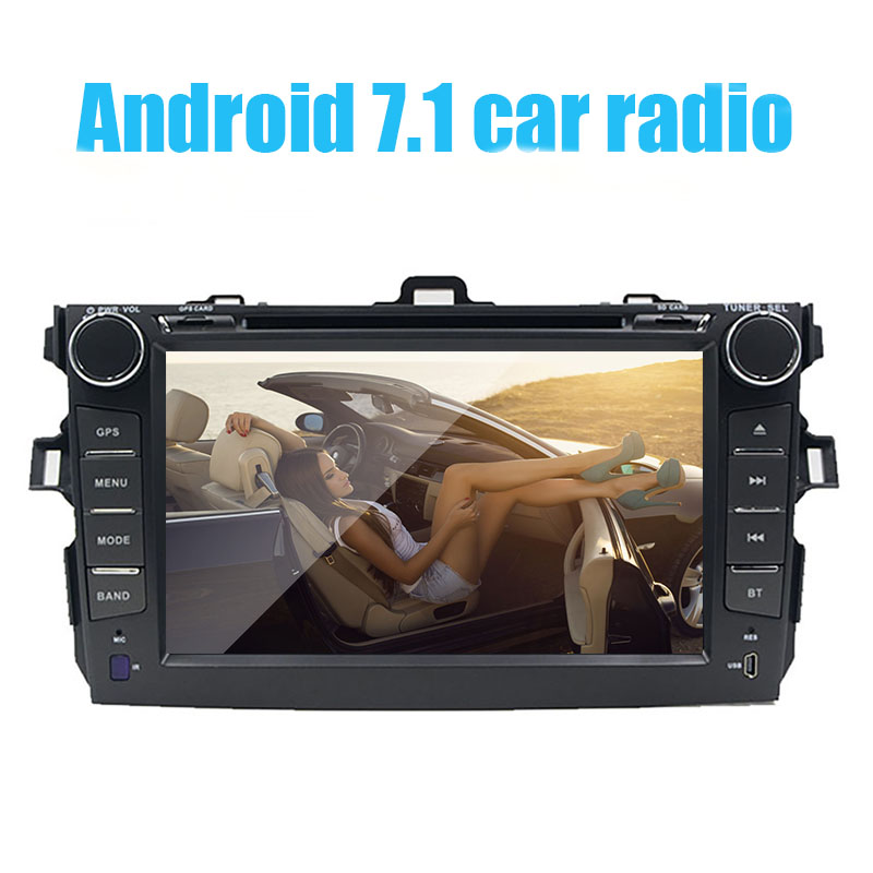 2 din Android 7.1 car dvd player gps for Toyota Corolla 2007 2008 2009 2010 2011 8 inch 1024*600 screen car stereo radio