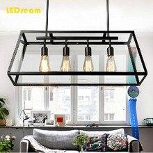 LEDream 4 head black retron lamp American country droplight Creative personality industrial glass box  restaurant bar droplight