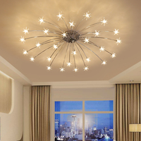 Norbic creative chrome iron flower G4 LED bulb chandeliers lamp home deco living room clear glass star chanderlier lighting