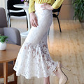 Free Shipping 2017 New Fashion Spring And Summer Lace Long White Skirt Fish Tail Mermaid Skirt Plus Size XXL Slim Hip Flower