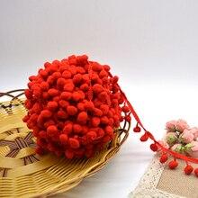 free shipment 100% polyester 2.5cm diamter pom pom trim price for 8 meters