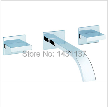 ФОТО fashion high quality In-wall basin faucet mixer double handle bathroom sink faucet