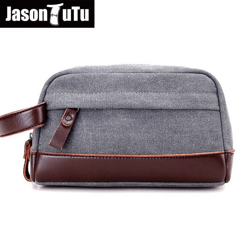 Canvas Clutch Bag Mini Bags Male Money Pocket Vintage Leather Handbag Canvas Toiletry Bags Wrist Bag Brown B585