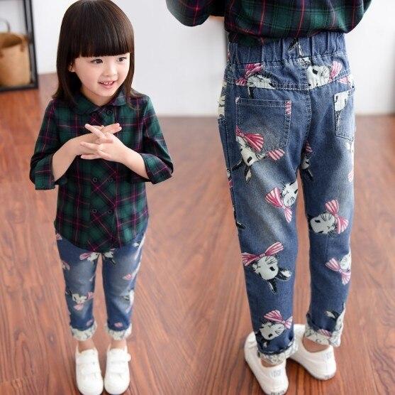 2018 Autumn Winter Korean Girls Fashion Cute Print Casual Jeans