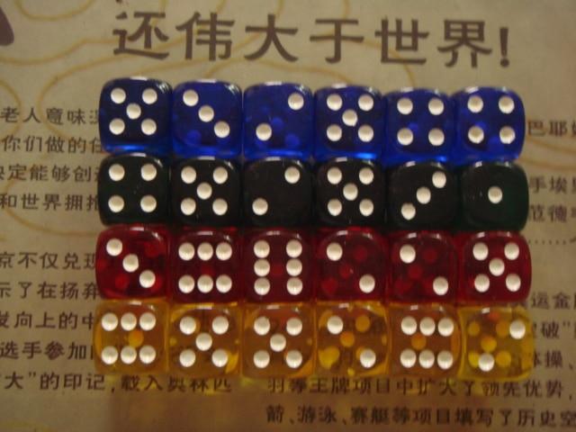 16 มิลลิเมตรเนื้อสีโปร่งใสลูกเต๋าลูกเต๋า (24 อนุภาคตั้งโปร่งใสสีฟ้า, สีเขียว, สีเหลือง, สีแดง, แต่ละ 6 เม็ด)