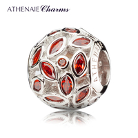 ATHENAIE 925 Sterling Silver Plated Platinum With Red Pink CZ Sparkling Leaves Charm Beads Gift For
