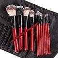 Pro 12 pcs Makeup Brushes Set Fundação Pó Eyeliner Eyeshadow Escova de Cabelo Sintético Punho Vermelho Noite Saco de Presentes para As Mulheres