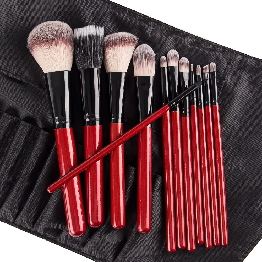 Pro 12pcs Makeup Brushes Set Foundation Powder Eyeliner Eyeshadow Brush Synthetic Hair Red Handle Evening Bag Gift for Women