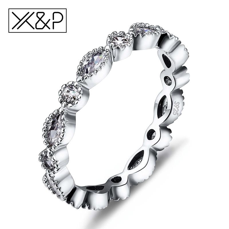 X&P Fashion Charm 925 Silver Alluring Brilliant Marquise Fin