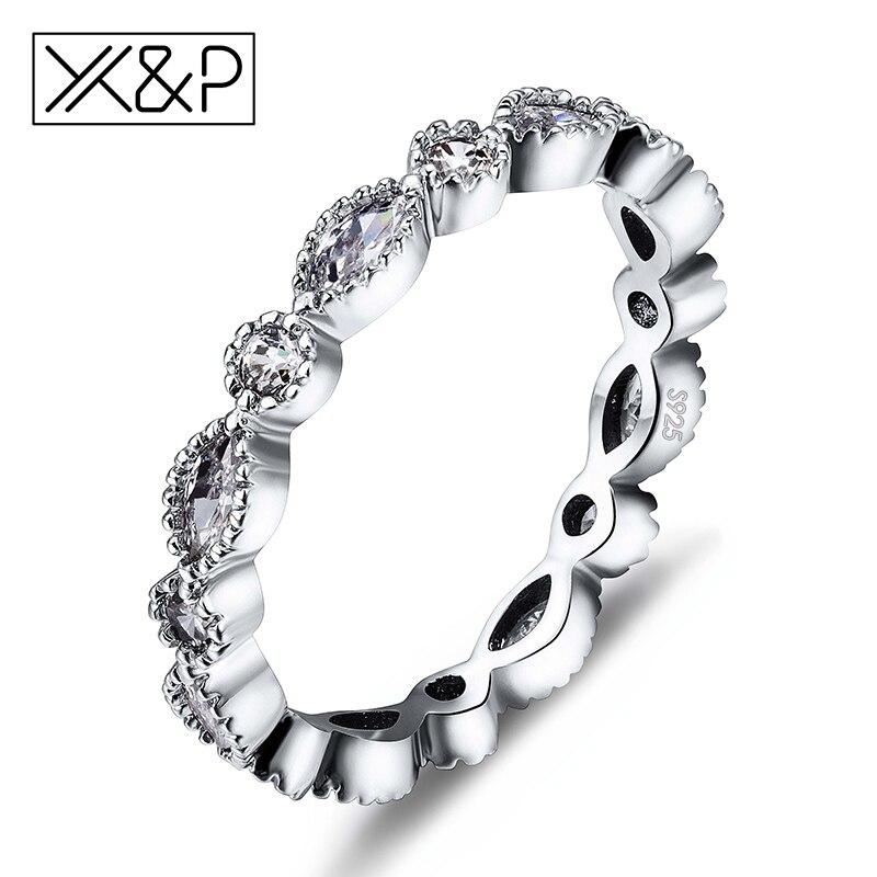 X&P Fashion Charm 925 Silver Alluring Brilliant Marquise Fins
