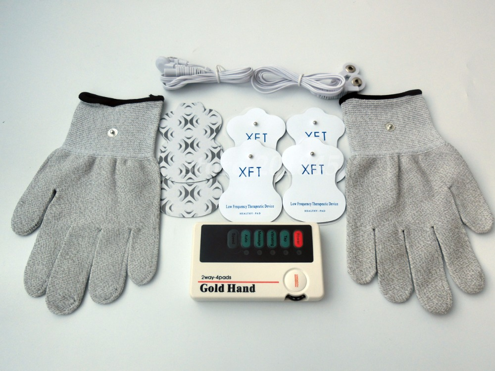 XFT-502 2Ways 4Pads Electrical Stimulator Low Frequency Digital Massager TENS Machine For Body Massage+1Pair Conductive Gloves