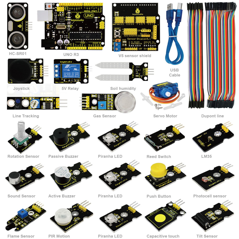 Keyestudio ARDUBLOCK Graphical Programming Starter Kit for Arduino Education Study +UNOR3/Dupont Lines