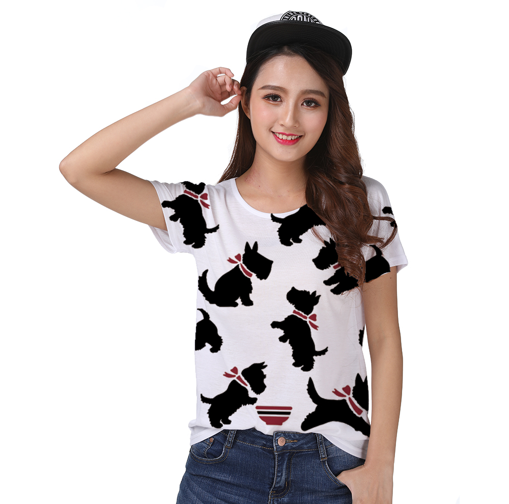 Ambitious T-shirt Top Tee Simple Black Scottie Dog Red Scarf Playing With Bowl Food 0952 Bright In Colour