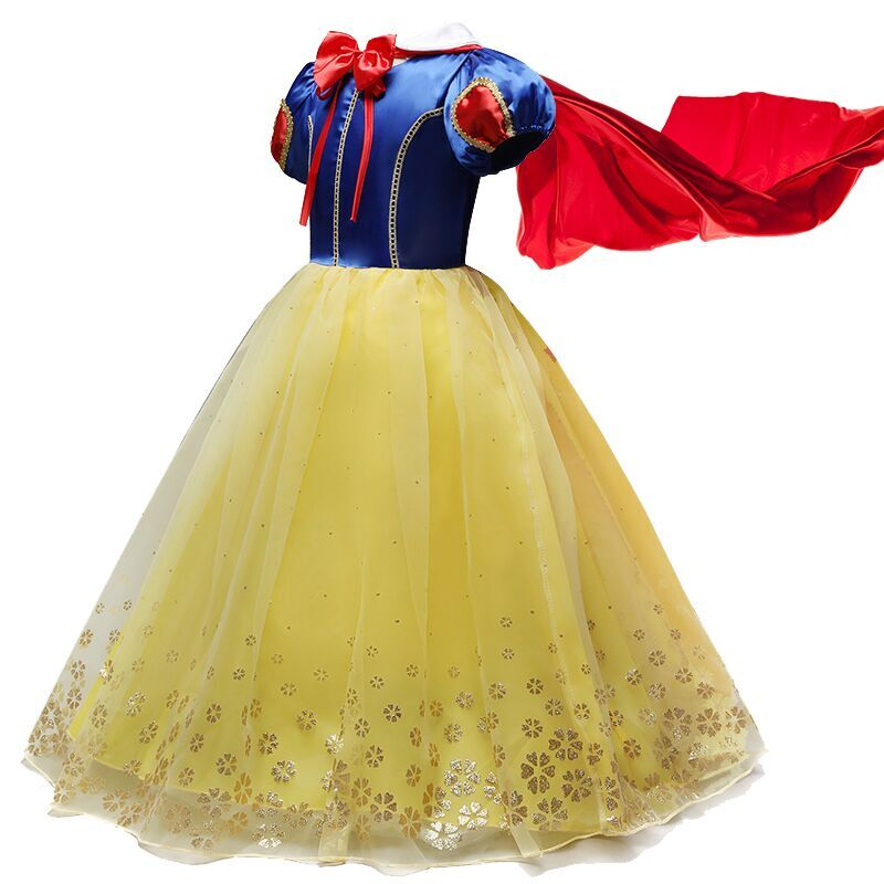 Red Cloak Princess Snow White Dress up Kids Dresses for Girls Halloween Party Snow Print