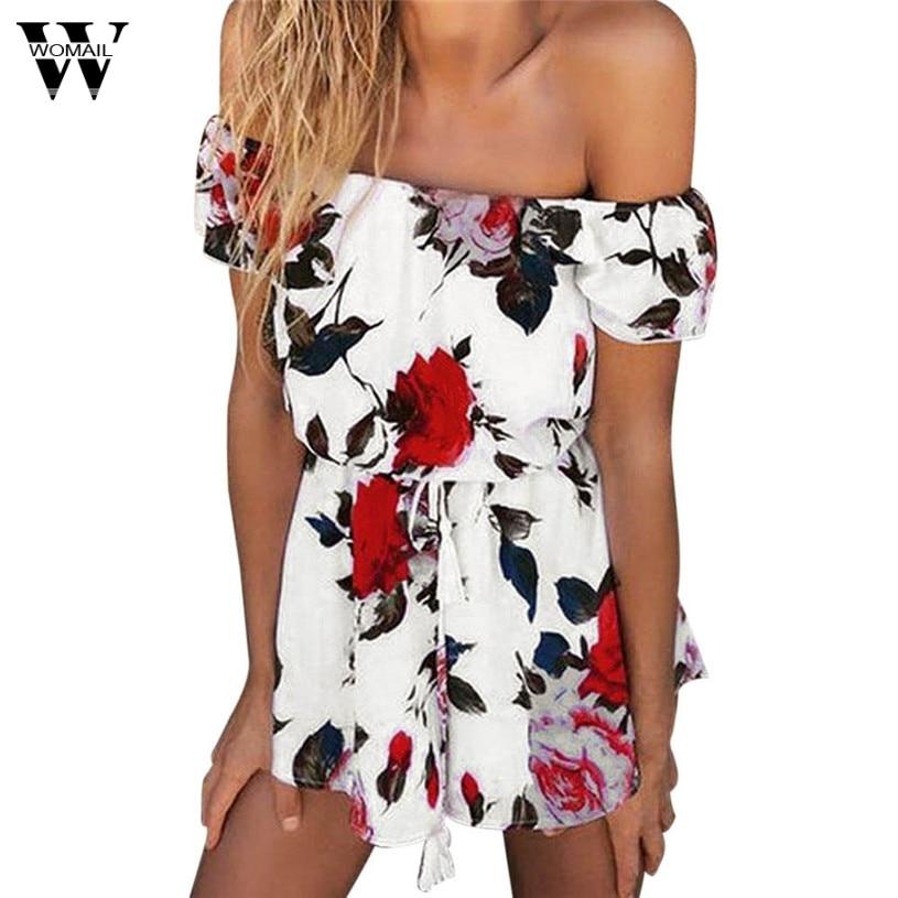 Womail Sexy off ուսի ծաղկային տպագիր էլեգանտ - Կանացի հագուստ