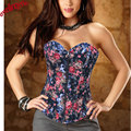 HOT SALE ! Free Shipping Corselet Zipper Flower Denim Corset Women Corselet Strapless corset Overbust Cheap price Drop Shipping