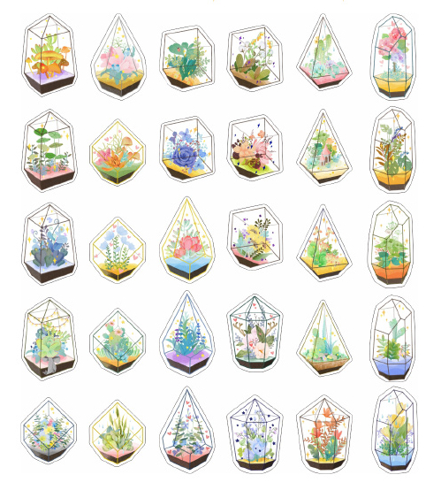 AEMX004-green glass flower house paper postcard(1lot=6pieces)