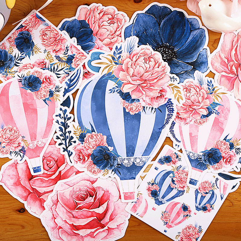 16 pcs/lot Colorful flowers Hot air ball paper sticker package DIY diary decoration sticker album scrapbooking kawaii stationery 48 pcs lot drift bottle mini paper sticker bag diy diary planner decoration sticker album scrapbooking kawaii stationery