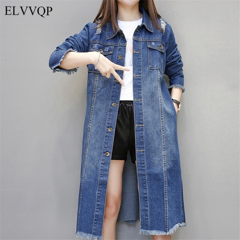 Slim Korean Single Breasted Trench Coat for Women Plus Size 3XL Spring Female Windbreaker 2018 Long Denim Coats Overcoats N212