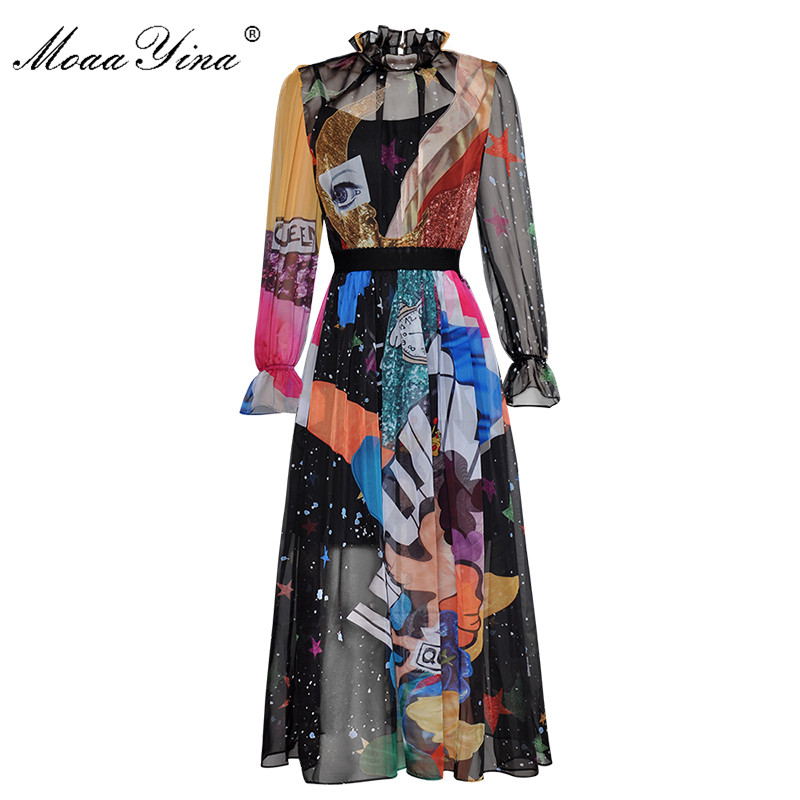 MoaaYina Fashion Designer Runway Dress Spring Women Long sleeve Standing collar Starry sky Colorful Cartoon Print