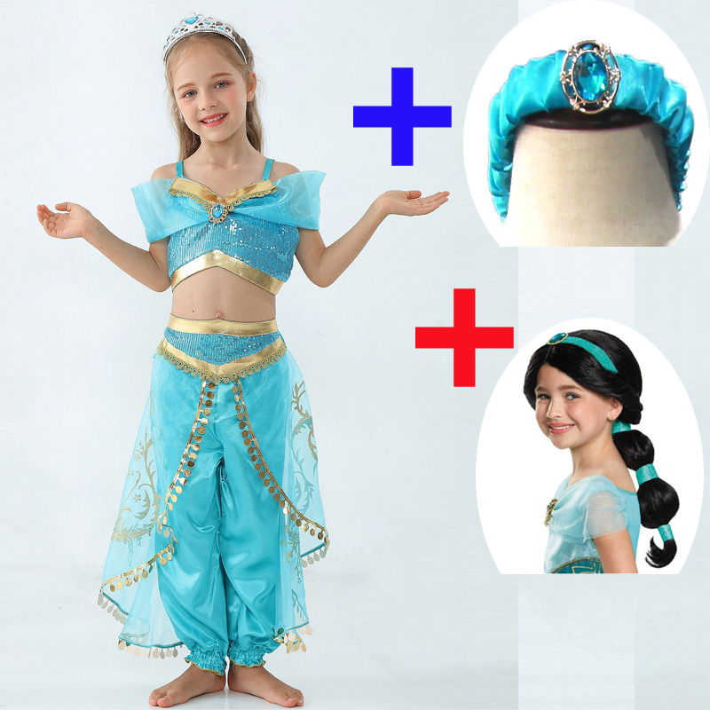 Kids Girls Princess Jasmine Costumes For Children Belly Dance Dress Indian Costume Halloween Party Christmas Party Cosplay 3-10T