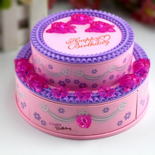 HOT! Super Lovely Creative Music Box Classic Happy Birthday Music Box with Birthday Cake Shape Jewelry Box Nice Gift For Kids