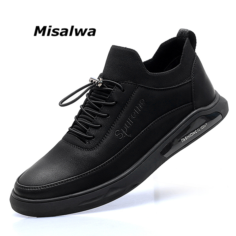 Misalwa Men s Leather Casual Shoes Spring Autumn PU Leather Adult Fashion Mens Casual Sneakers Men