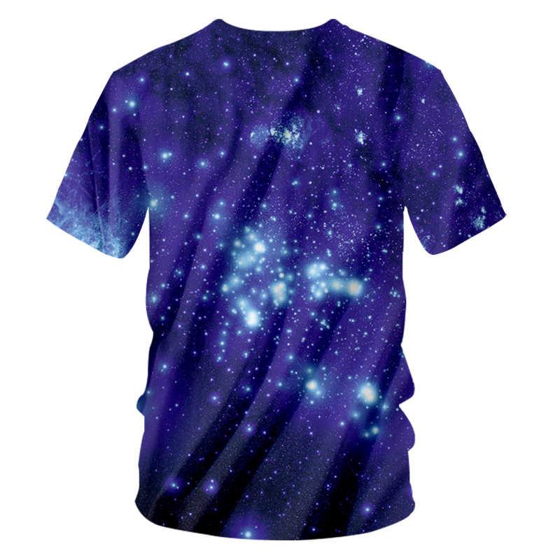 CJLM Mannen T-shirts Blauw Cool Print Galaxy Ruimte 3d T Shirt Casual Korte Mouw O-hals Undershirts Hiphop Streetwear Tees Shirts