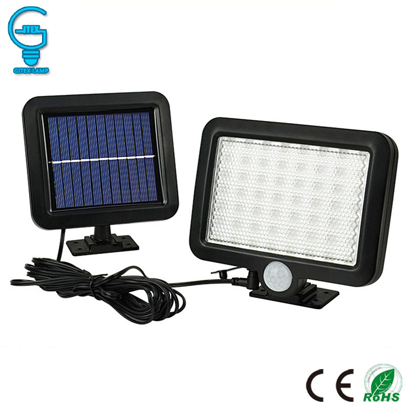 Gitex 56 LED Solar Light Outdoor Solar Powered Garden Lawn Light PIR Motion Sensor Wall Lamp Waterproof Infrared Sensor Light 2017 led solar lamp remote control garden lawn lights outdoor infrared sensor light 20 led solar motion detection wall light ca