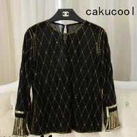 Cakucool Women Sequined Blouse Tops See through Sexy O neck Mesh Blusas Shirt Long Sleeve Plaids Beading Lady Runway Blouse Top