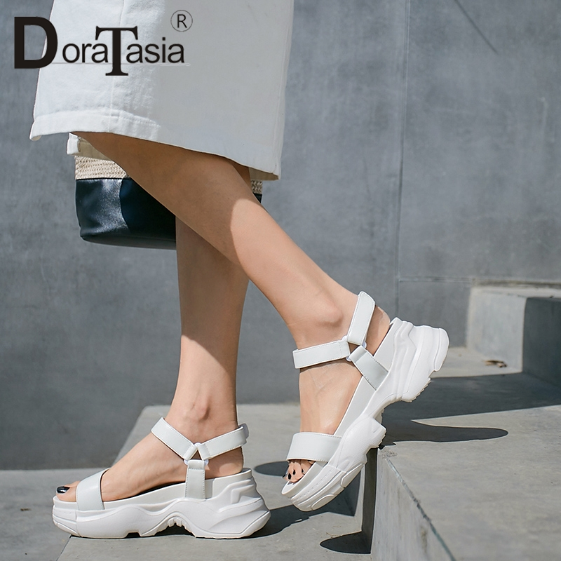 DORATASIA New Fashion 2019 Comfortable Platform Summer Sandals Woman Shoes Leisure Wedge Heels hook&loop Shoes Woman Sandals