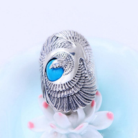 Vintage Thai Silver Jewelry 925 Sterling Silver Eagle Rings Inlaid Turquoise Fashion Men S Rings