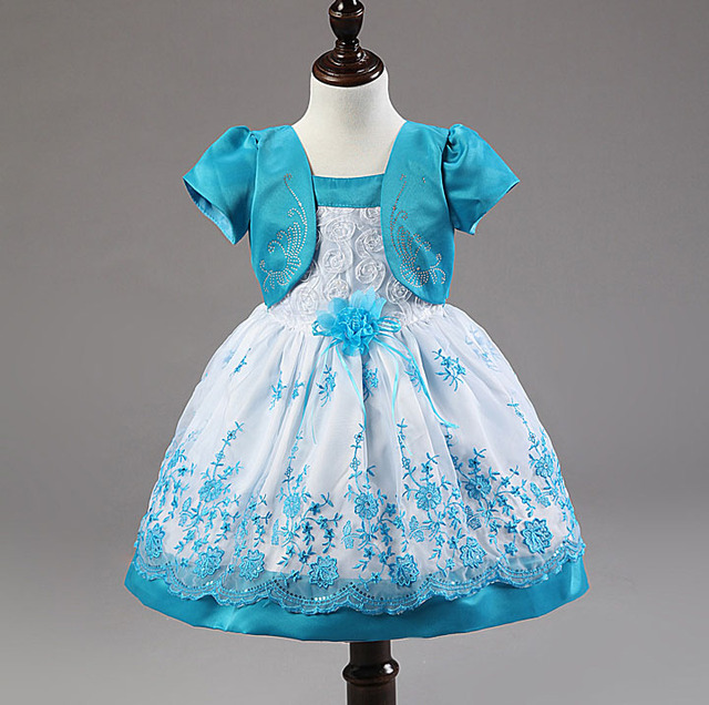 2016 newest fashion baby girls flower lace 1st birthday outfits formal infant blue dress