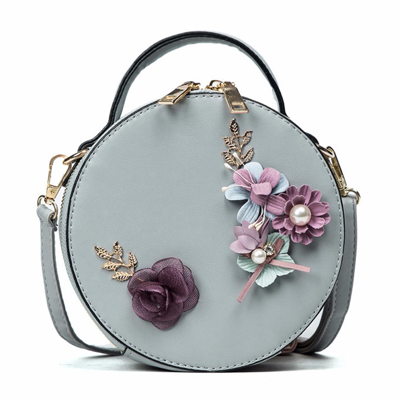 Women Bag Female Handbags Leather Shoulder Bag Crossbody Famous Brand Tote Handbag Round Flower Black Cute Small Fashion Bags genuine leather studded satchel bag women s 2016 saffiano cute small metal rivet trapeze shoulder crossbody bag handbag
