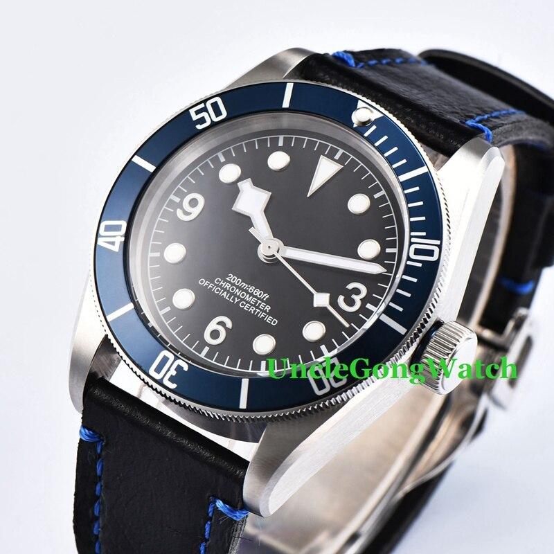 41mm Blue Bezel black Sterile Dial  Sapphire Glass Brushed Case Miyota Automatic Mens watch коньки onlitop 38 41 blue black 1231419