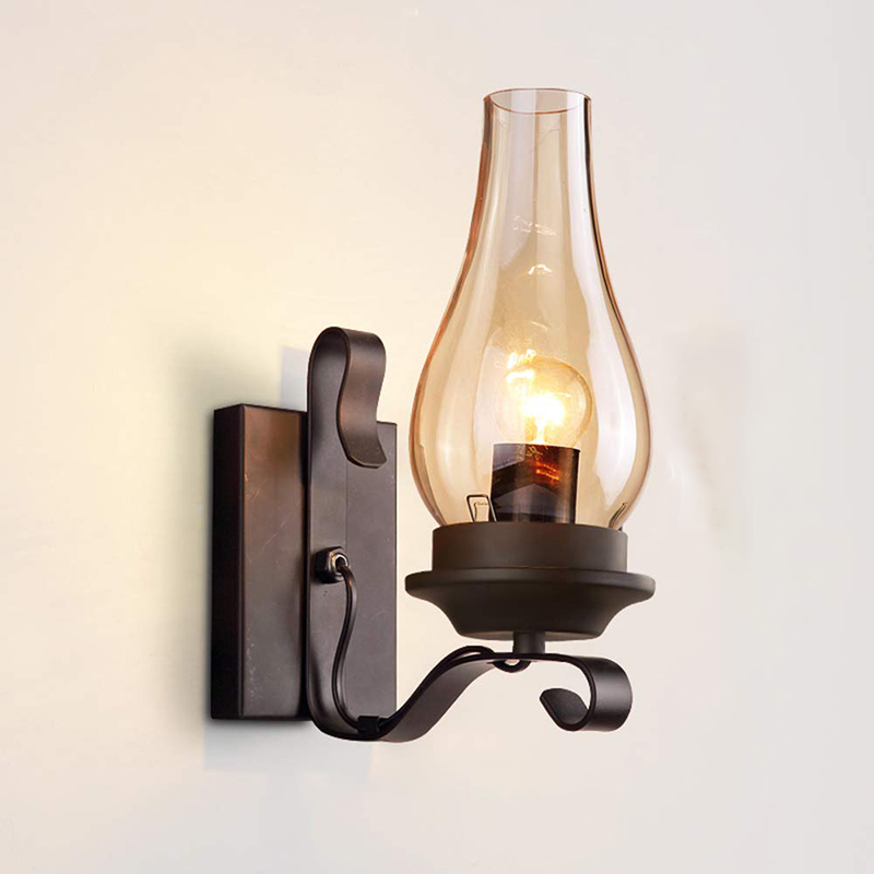 Vintage Loft Wall Lamp with Glass Lampshade for Kitchen Living Room Bedside Wall Mounted Sconce Wall