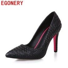 EGONERY chaussures 2017 hot creative mode femmes chaussures bout pointu mature haute talons pu pompes en cuir solide élégant parti chaussures