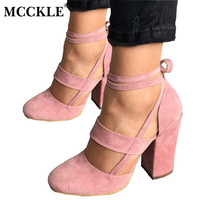 MCCKLE Female Fashion Ankle Strap Two Piece Black Chunky Heel High Heels 2017 Women S Comfortable