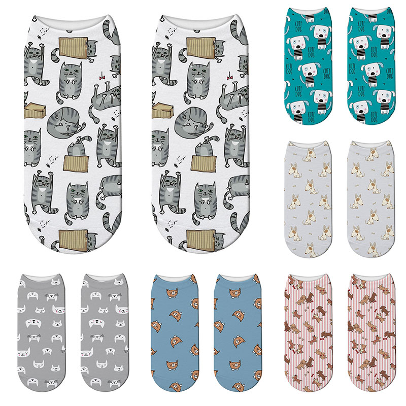 Cartoon Cat 3D Printing Female Socks Cute Dog Pattern Women Ankle Socks Calcetines Mujer Casual Pet Animals Printed Sock
