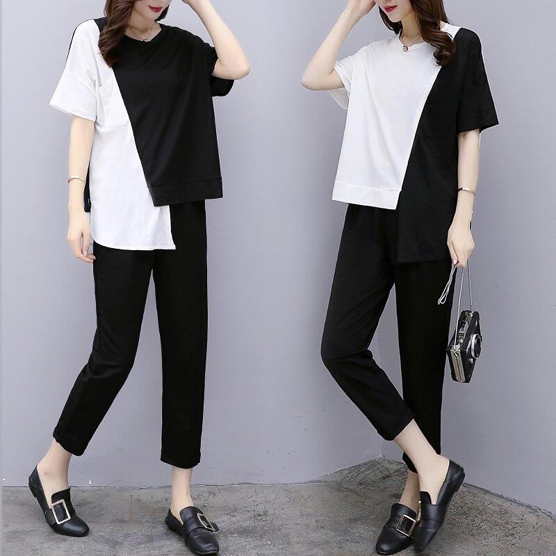 Nouveau grande taille dames 2018 été porter mode européenne deux pièces vêtements blanc noir patch haut ample grande taille XL-5XL